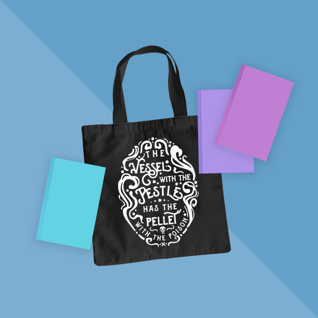 "Tote bag mockup featuring the ""Vessel with the Pestle"" design."