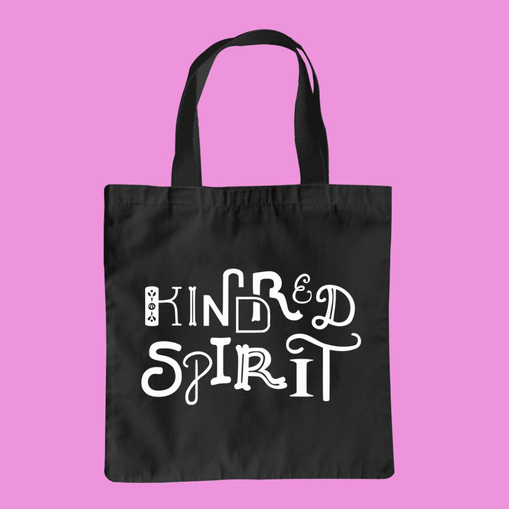 Tote bag mockup features the Kindred Spirit design